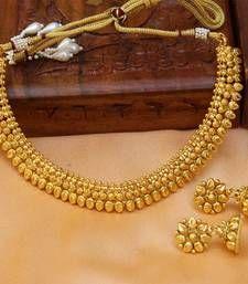 Buy Gorgeous gold plated plain necklace set necklace-set online