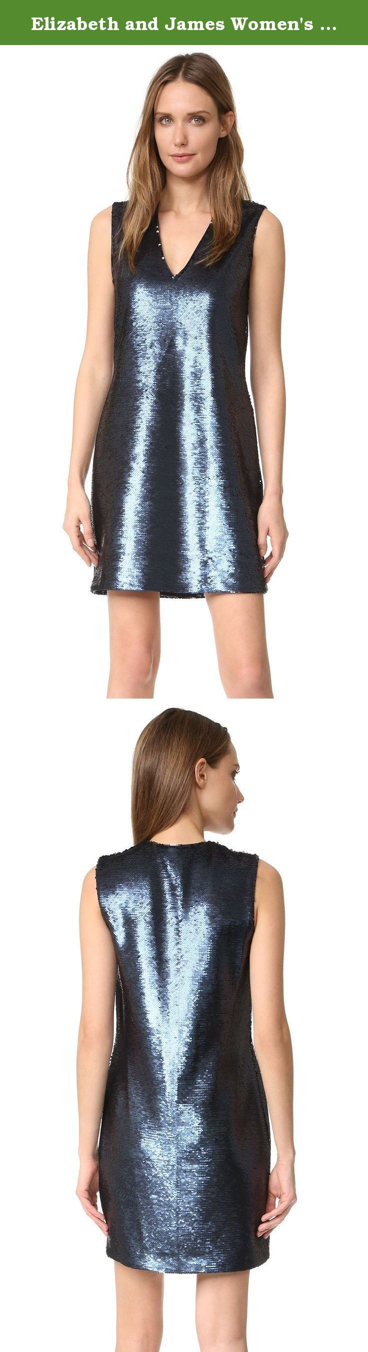 Elizabeth and James Women's Wesley Deep V Sleeveless Sequin Dress, Black/Navy, 2. This party-ready Elizabeth and James mini dress is layered with shimmering sequins. Deep V neckline. Lined.