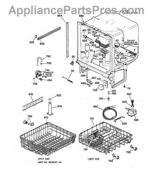 GE WD28X10369 Upper Dish Rack - AppliancePartsPros.com