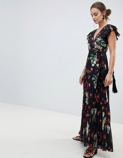 f57894a007 DESIGN pleated maxi dress with flutter sleeve in Vintage Floral print |  Jewel Tone Bridesmaid | Floral maxi dress, Printed bridesmaid dresses,  Floral prints