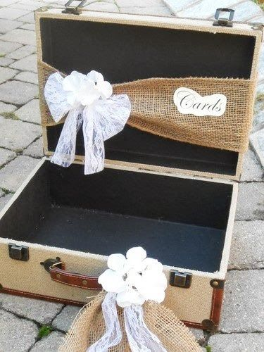 Vintage Suitcase Card Box #wedding - i know you probably don't want something this open- but how adorable is this idea!