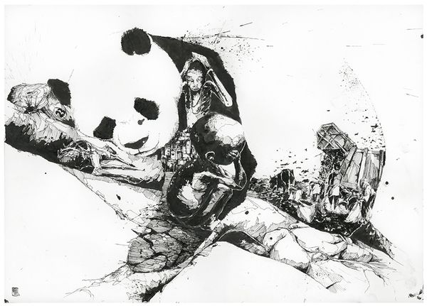Simon Prades - Chaos und OrdnungSimón Prades, Ink Drawing, Art Drawing, Und Ordnung, Chaos Und, Illustration, Art Prints, Simon Prades, Pandas