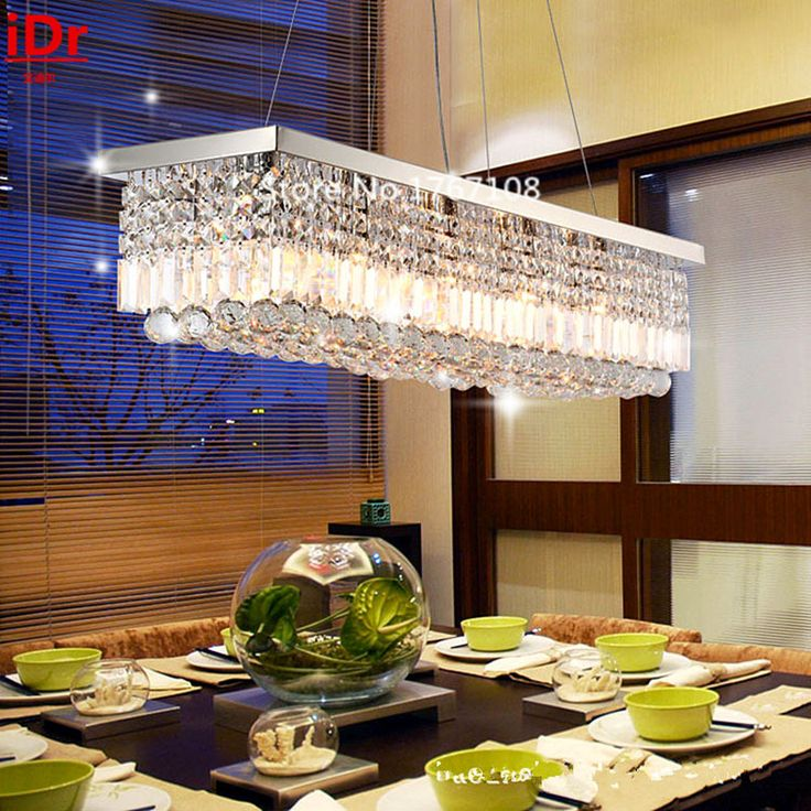 European Modern Restaurant High Quality Chandelier Crystal Lamp Led A Large Rectangular Living Room With