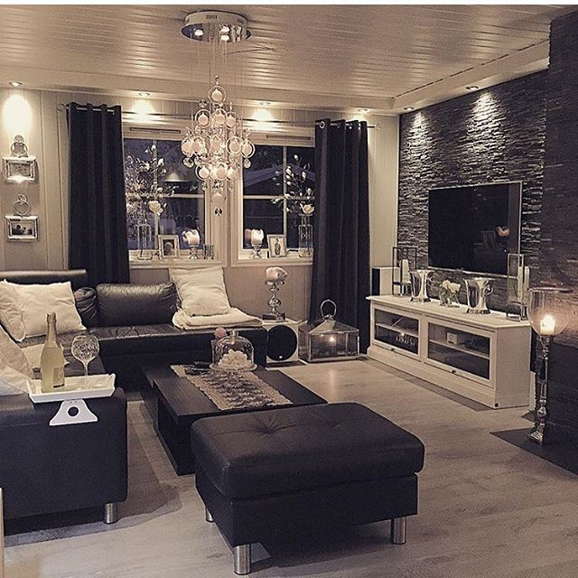 love this living room cozy and stylish - Black Living Room Decor