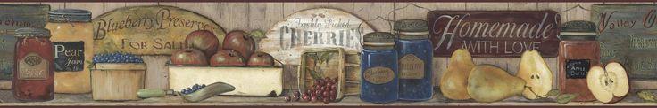 York Wallcoverings CB5514BD Border Book Fruit Preserves Border Taupe / Red / Burgundy / Blueberry / Golden Home Decor Wallpaper Borders