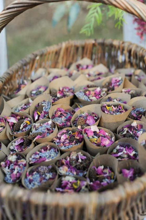Potpourri to toss when bride and groom exit (instead of rice, sparklers, or confetti). Lavender & rose buds (Amazon) and mini pine cones from Asheville