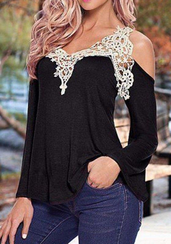Black Patchwork Lace V-neck Sexy T-Shirt