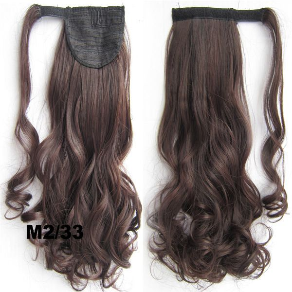 "24""100g Wrap Around Ponytail Hair Extensions Curly Wavy Invisible Ribbon Mix 2/33 Dark Brown & Dark Auburn Women's Hairpiece"