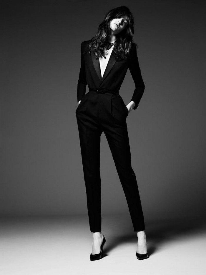 Fashion Model Pose - luxe tailored suit; black & white fashion photography // Saint Laurent