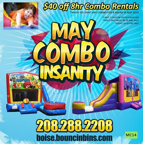 Bouncinbin 40 off rental for may -->IDAHO party SAVE