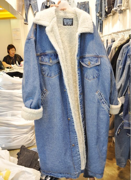 Women Jean Jacket Lamb Wool Long Denim Coat Winter Loose Jacket Fashion e45dc5c265