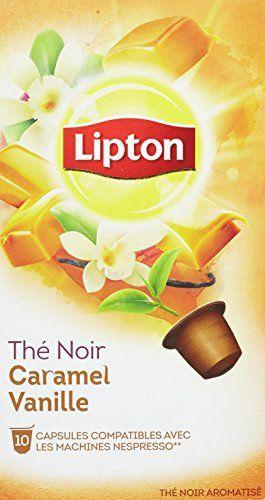 Lipton Thé Noir Caramel Vanille 10 Capsules 25g Compatibles Nespresso: Thé noir aromatisé caramel vanille 10 capsules de thé compatibles…