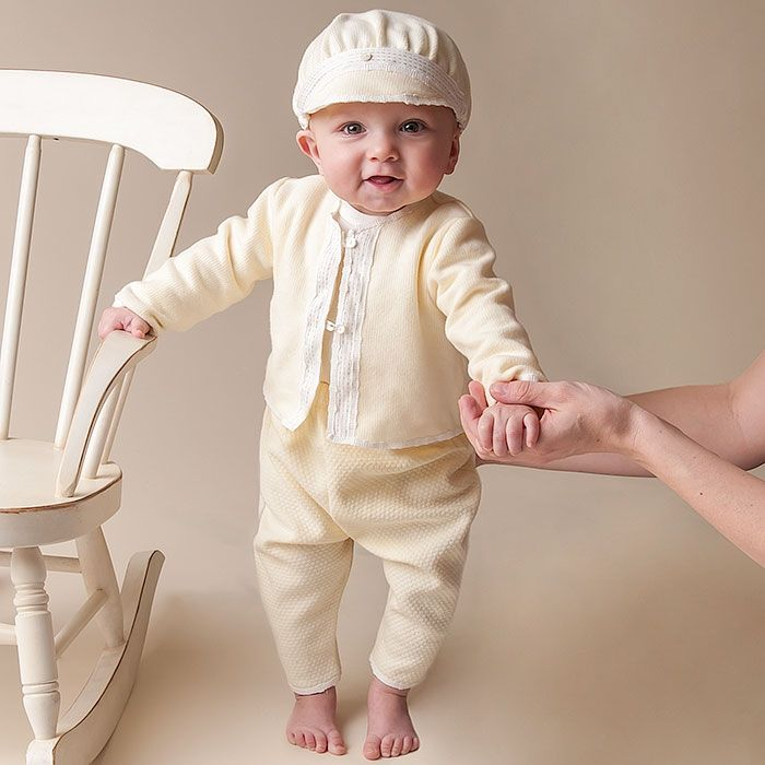 Cute Boys' Christening Outfits He'll look magnificent in one of our handsome little christening outfits for boys! A clean white vest buttoned over a similarly colored shirt plus a cute little necktie presents him in his best-looking outfit yet.