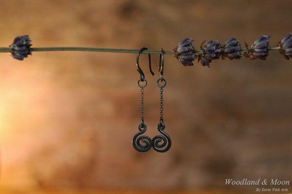 Sterling silver spiral earrings / dangle by WoodlandAndMoon