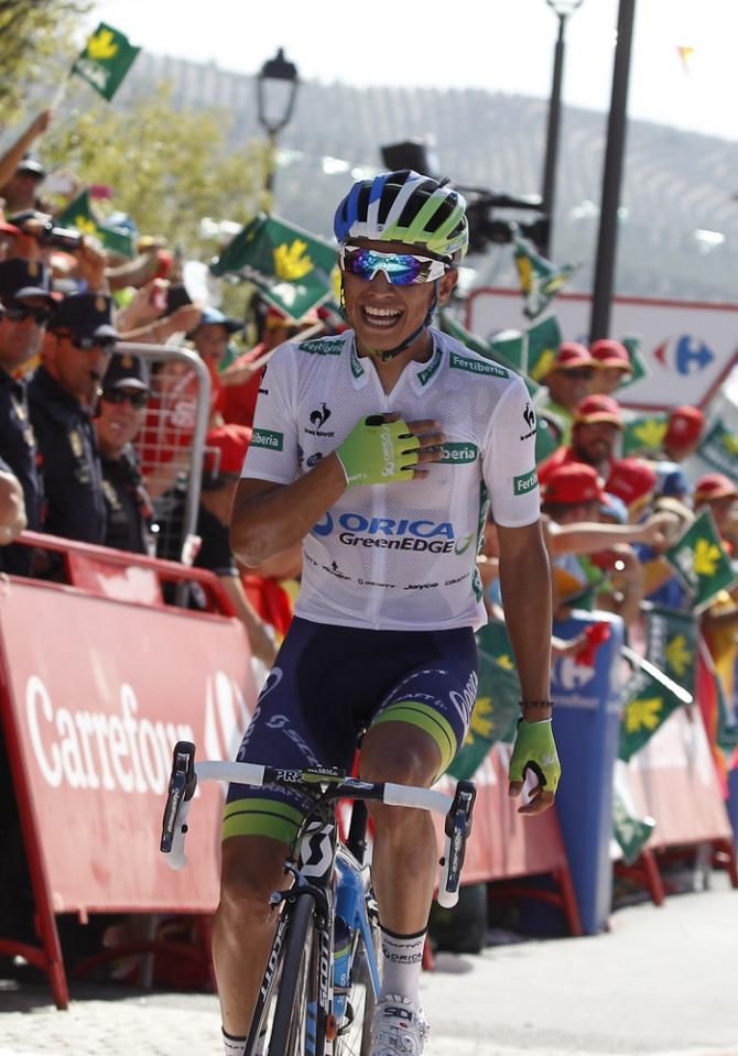 Estaban Chaves wins stage 6 of the 2015 Vuelta a Espana. (Getty Images Sport)