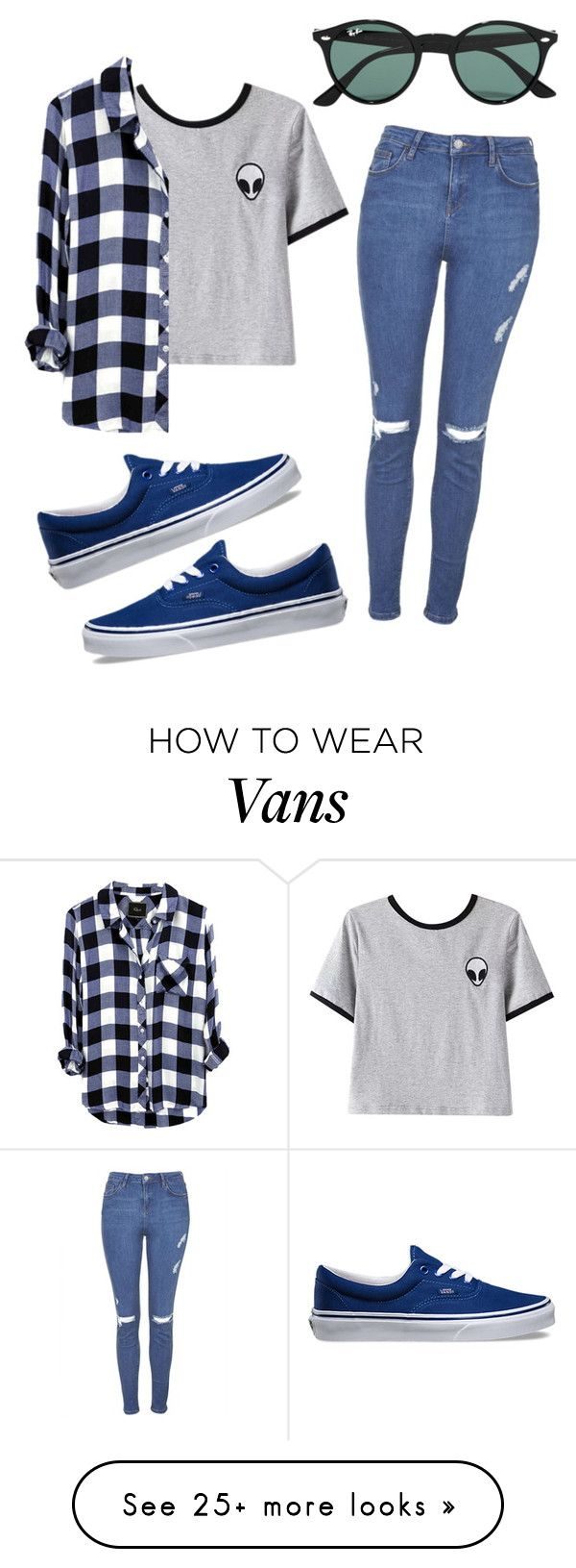 """Why u gotta be so blue?"" by eemaj on Polyvore featuring Topshop, Chicnova Fashion, Ray-Ban and Vans"