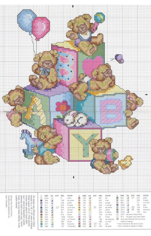 Cross-stitch Teddy Bears & Baby Blocks...   bk
