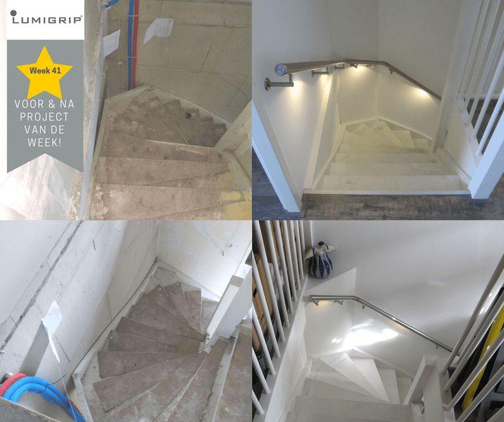 Leuke nieuwbouw woning voorzien van RVS trapleuningen met warm witte verlichting. Systeem MonoColour Touch-Dim Sense. PROJECT VAN DE WEEK!