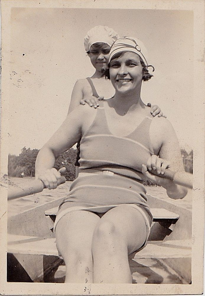 Vintage Antique Photograph Mom & Little Girl in Bathing Suits & Caps Rowing Boat