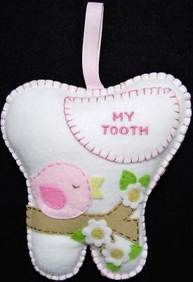 "GIRLS HAND~MADE WHITE FELT TOOTH FAIRY PILLOW WITH PINK BIRD ~ 7 1/4"" X 7"""