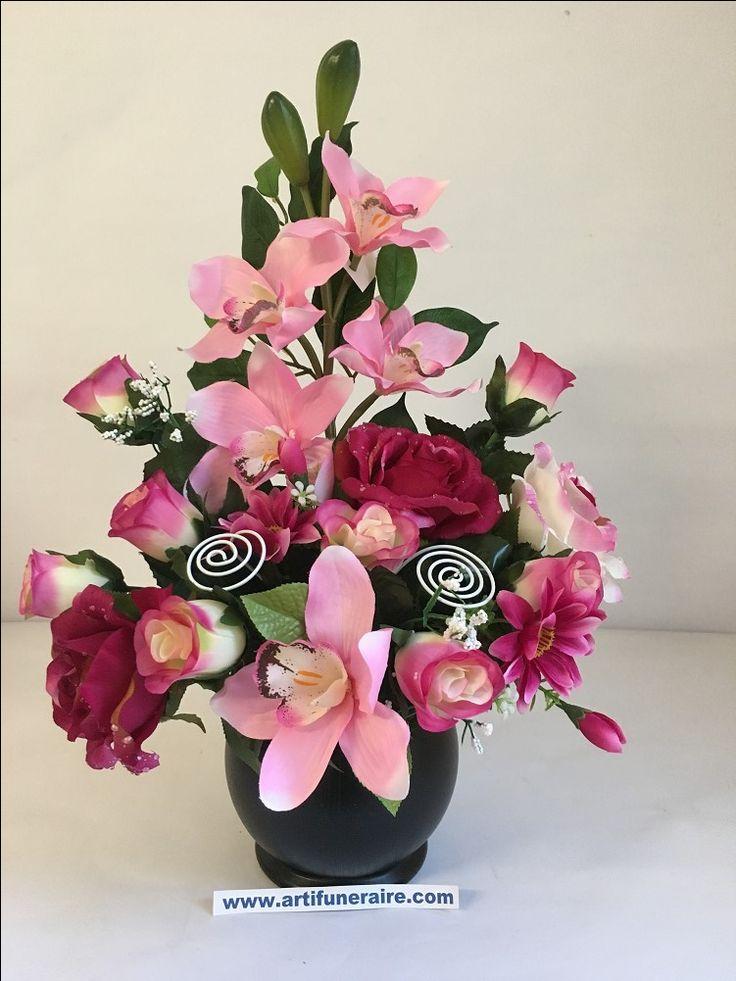vase funeraire pvc lourdement lesté avec composition florale artificielle orchidée et rose