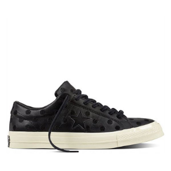 Women's Black Embroidered Polka Dot CONS One Star '74 Sneakers (€46) ❤ liked on Polyvore featuring shoes, sneakers, polka dot sneakers, leather shoes, black spot shoes, black trainers and star sneakers