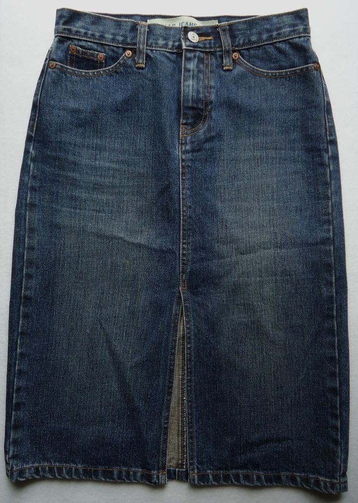 Gap Ladies Juniors Skirt 1 Denim Dark Wash Jean Straight Blue Jean #GAP #StraightPencil