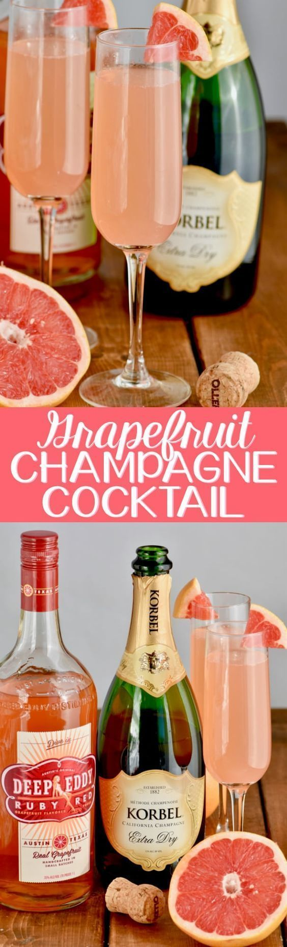This Grapefruit Champagne Cocktail recipe is the perfect easy drink to celebrate with! This tops the list of the best pink champagne cocktails. Made with champagne, vodka, and juice this is an easy cocktail that is amazing for summer or any time of year that you need a little bubbly! #Champagne #cocktailrecipes
