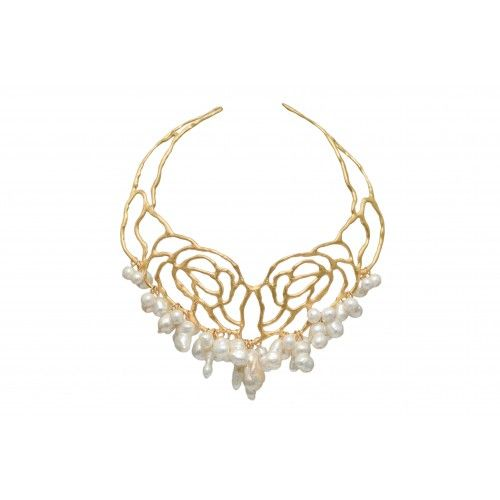 """Drops of Grace"" Necklace: silver gold plated with baroque FWP"