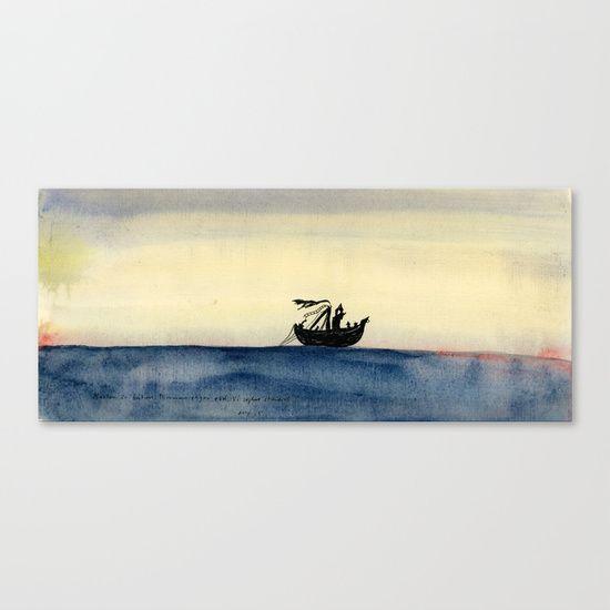 The mast is broken. Red fog rising. We sail ever.  Canvas Print by Mirjam Palosaari Eladhari - $85.00