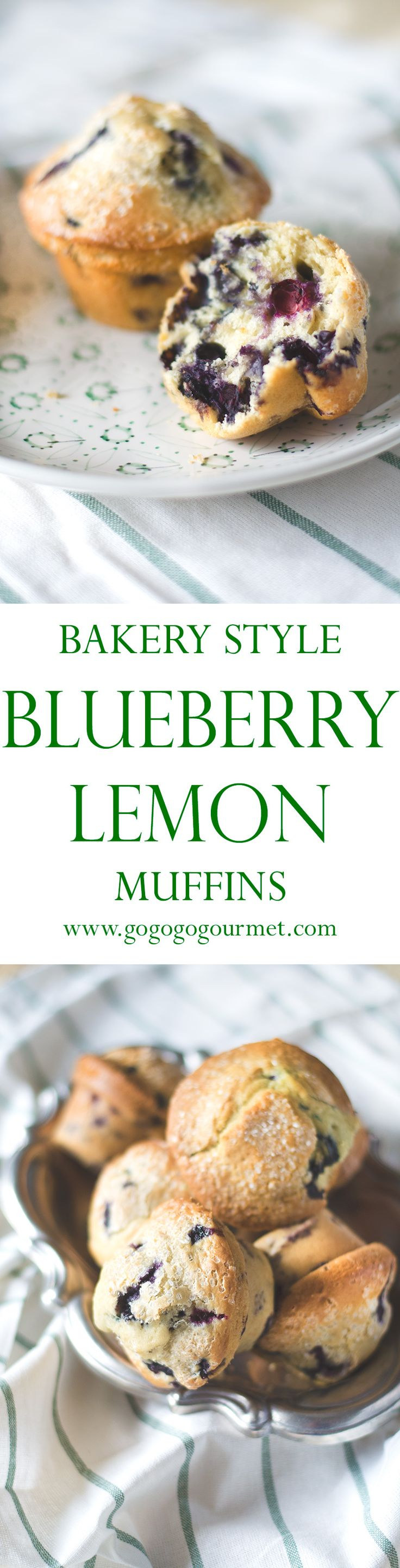 Bakery Blueberry Lemon Muffins | Go Go Go Gourmet @gogogogourmet