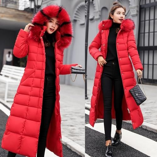 2018 New Fashion X-long Winter Coat Women Large Fur Collar Down Jacket Women Slim Parka Female Plus Size Thickening Coats Ladies 1
