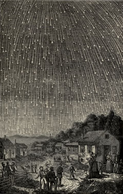 magictransistor:  Adolph Vollmy's woodcut engraving of the 1833 Leonid meteor shower (After Karl Jauslin), c. 1889.