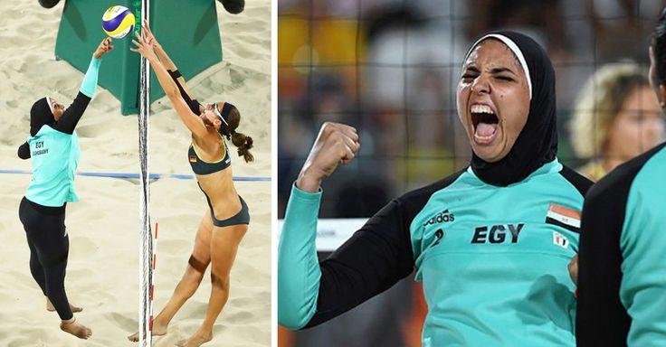Las olimpiadas unen países con espíritu deportivo; aquí la foto que se volvió viral con un choque cultural y los uniformes de voleibol femenil de egipto