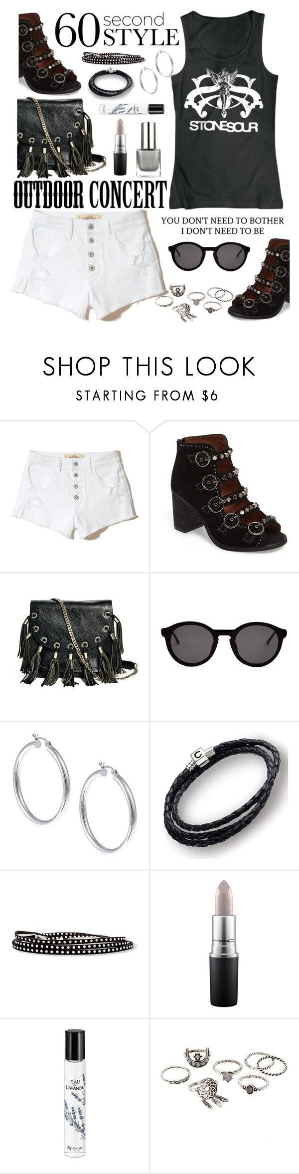"""60-Second Style: Outdoor Concert"" by hubunch ❤ liked on Polyvore featuring Hollister Co., Jeffrey Campbell, GUESS by Marciano, Thierry Lasry, Sterling Essentials, Chamilia, Steve Madden, MAC Cosmetics, Diptyque and Charlotte Russe"