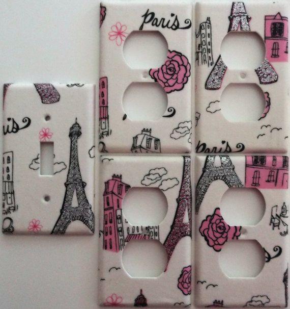 Paris Eiffel Tower Pink Glitter Motif Girls Light Switch Plate