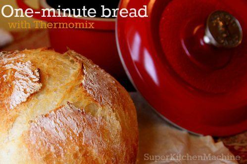 Perfect light bread with a crispy crust is easily made with TM5 or TM31 and this Thermomix bread recipe takes just one minute and a hot dutch oven.