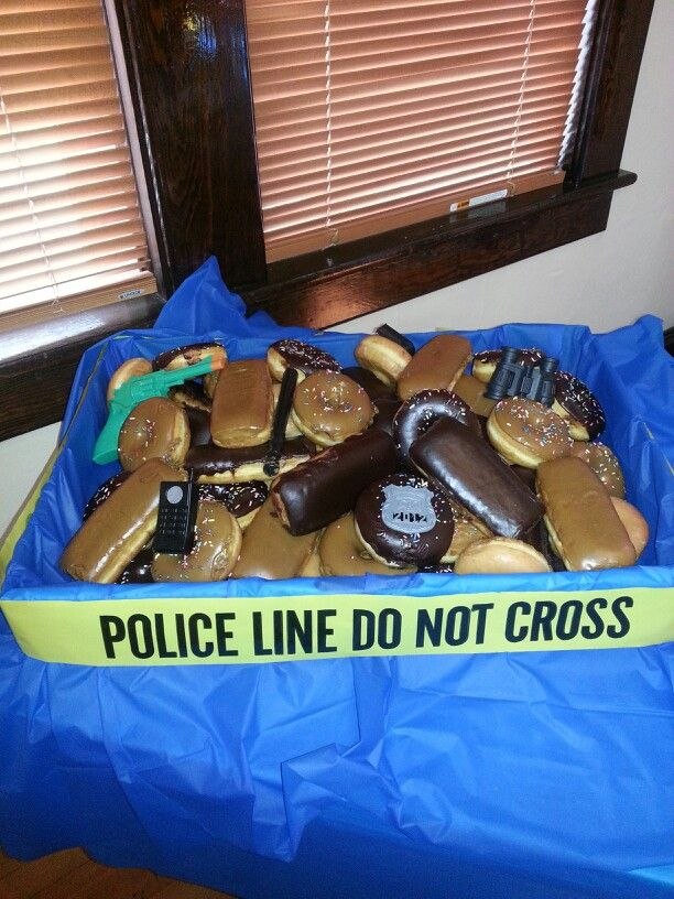 Retirement party. Like the donuts and police tape idea. Would display it different.