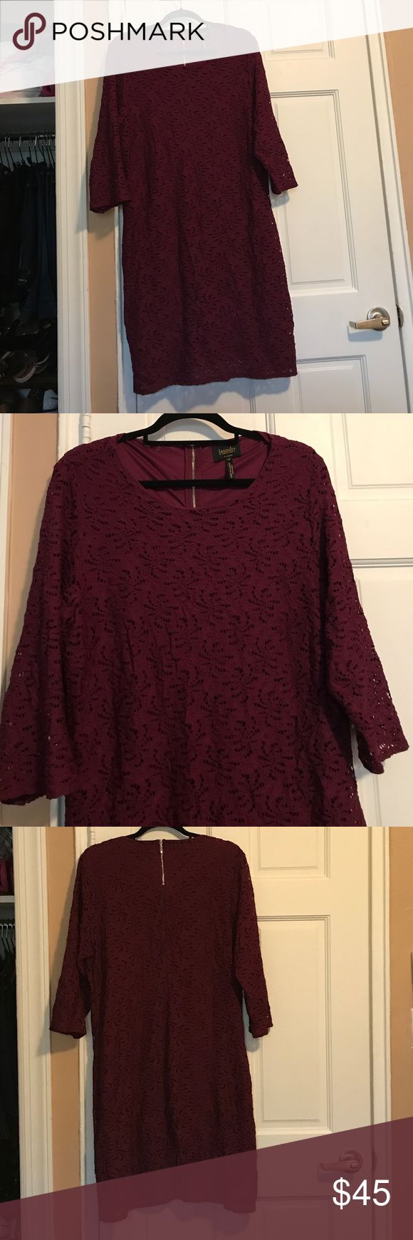 Laundry by Shelli Segal Purple Dress Beautiful dark purple Laundry by Shelli Segal dress. Only worn twice. Like New condition. When worn, comes to right above the knee. Classy, beautiful and flattering! Size 14. Laundry by Shelli Segal Dresses Midi
