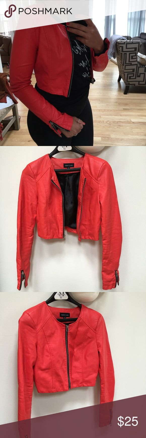 New Look cropped Leather jacket New Look cropped Leather jacket/ EUC- no flaws, faux leather, cropped, red, zipper front and sleeves, size M but fit like a small. New Look Jackets & Coats