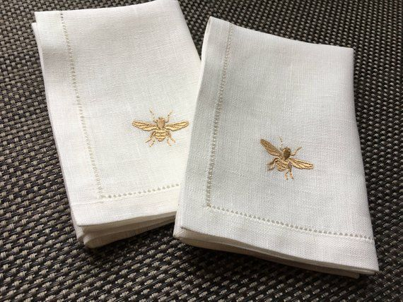 Linen Dinner Napkin With Bee Embroidery Hemstiched Napkin White Linen Napkin Organic Napkin Linen Birthday Gift Linen Dinner Napkins White Linen Napkins Bee Embroidery