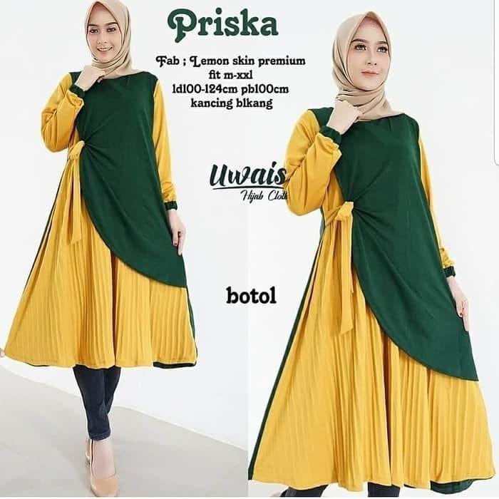 Baju Gamis Warna Kuning Lemon