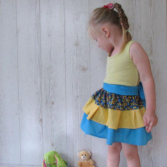 Toddler ruffle skirt, Baby Skirt, little girl Skirt, Girls Ruffled Skirt, Blue Yellow Skirt, Back To School Skirt