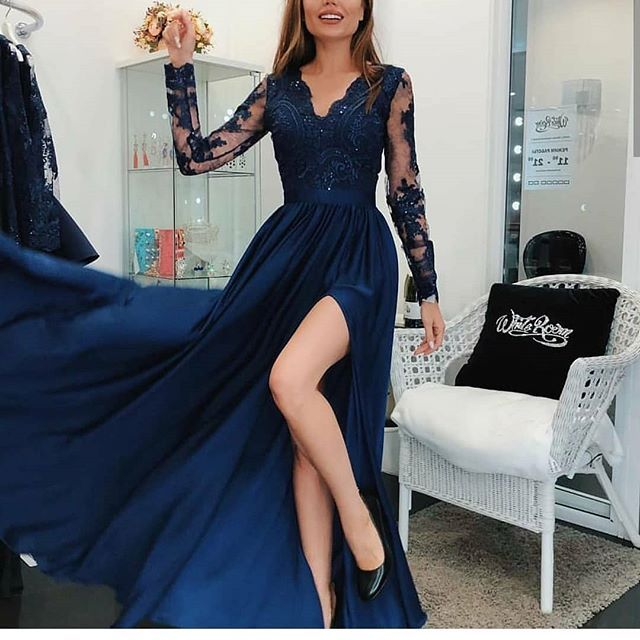 Kargo Ucretsiz Elbise Xs S M L Bedenleriyle 229 90 Kapida Odeme Mevcuttur Bil Long Sleeve Evening Gowns Prom Dresses Long With Sleeves Blue Evening Dresses