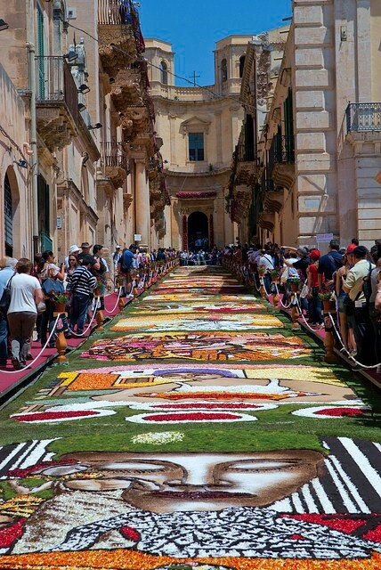 "The typical infiorata di #Noto - Sicily, where the street is ""painted"" with flowers!"