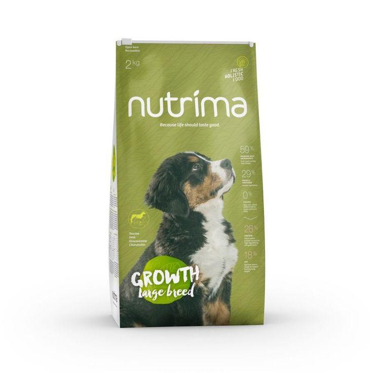Nutrima Growth Puppy Large Breed -koiranruoka isokokoisiksi kasvavien pentujen ravitsemustarpeisiin.