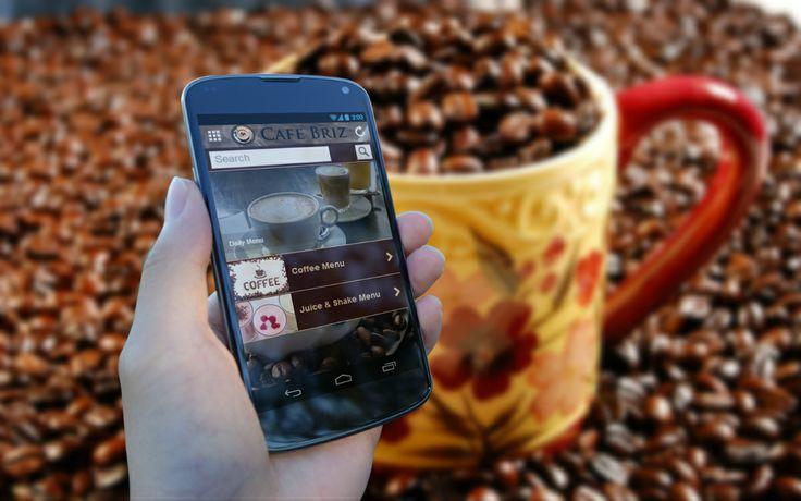 Cafe Briz Mobile App - Drink Menu Page.