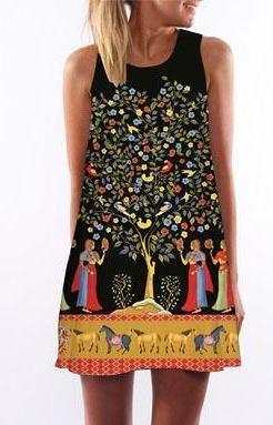 04edca0e12e 3D Print Bohemian Sleeveless Sundress (Multiple Styles) - Trendsology