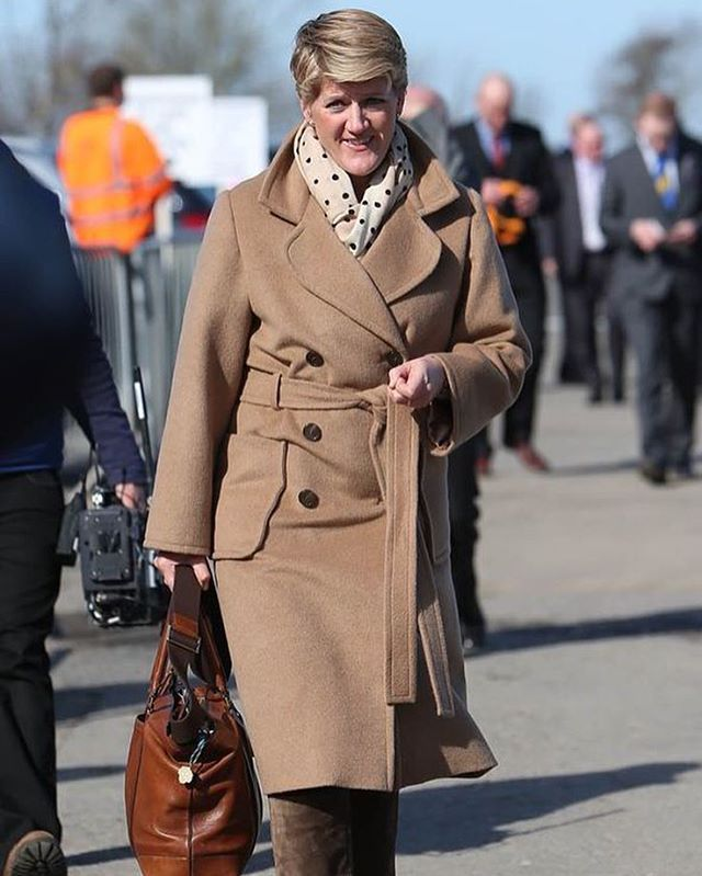 The @cheltenhamraces start today! Clare Balding was timeless in her Stewart Parvin coat last year... Have you got your outfit? #Cheltenham #races #cheltenhamraces #ootd #clarebalding #style #coat #outerwear #chic #brown #camel #doublebreasted #couture