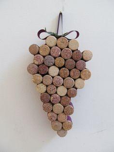 Corcho del vino de uva racimo salvamanteles por LizzieJoeDesigns